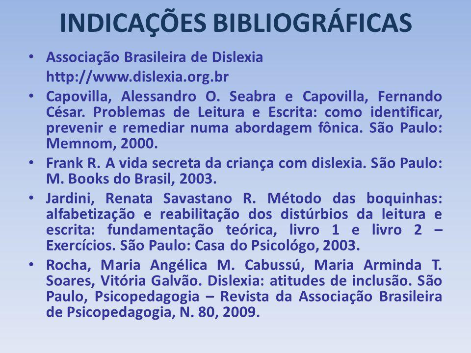INDICAÇÕES BIBLIOGRÁFICAS