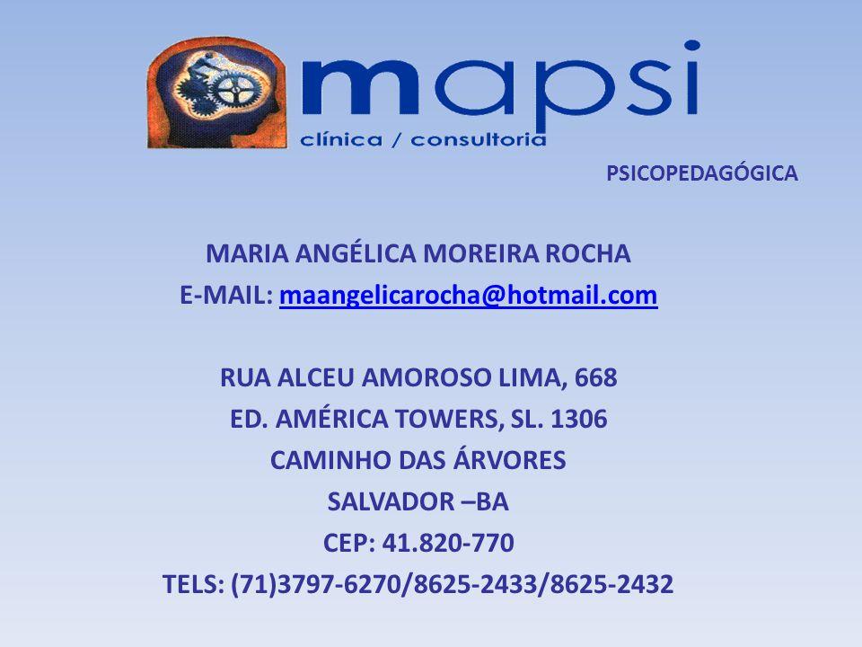 MARIA ANGÉLICA MOREIRA ROCHA E-MAIL: maangelicarocha@hotmail.com