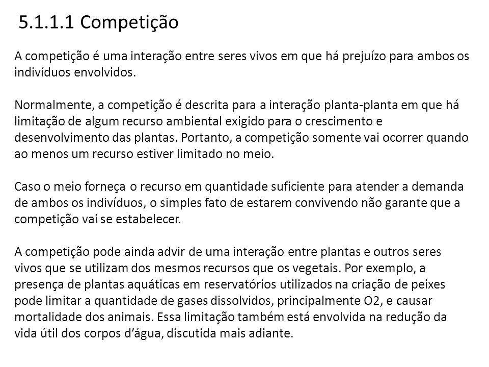 5.1.1.1 Competição A competição é uma interação entre seres vivos em que há prejuízo para ambos os indivíduos envolvidos.