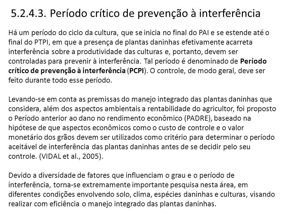 5.2.4.3. Período crítico de prevenção à interferência