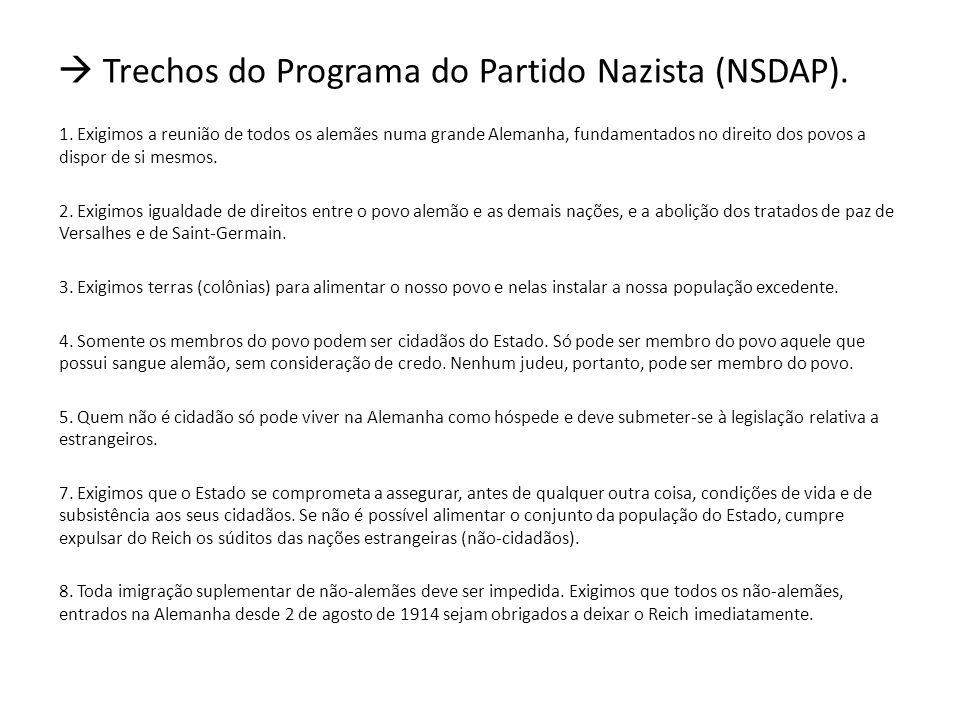  Trechos do Programa do Partido Nazista (NSDAP).
