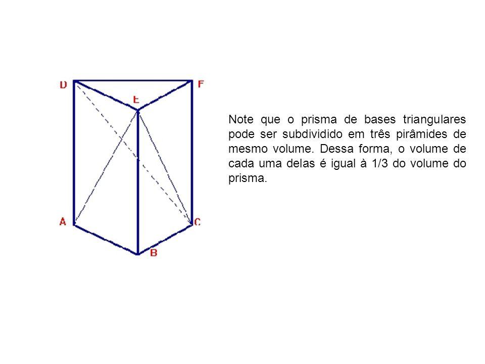 Note que o prisma de bases triangulares pode ser subdividido em três pirâmides de mesmo volume.