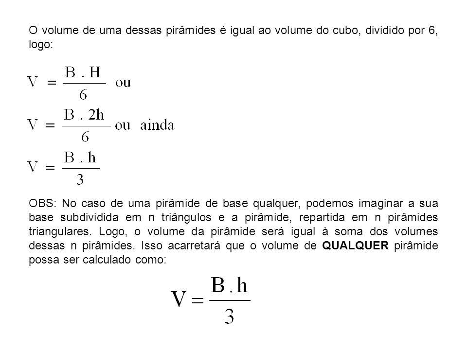 O volume de uma dessas pirâmides é igual ao volume do cubo, dividido por 6, logo:
