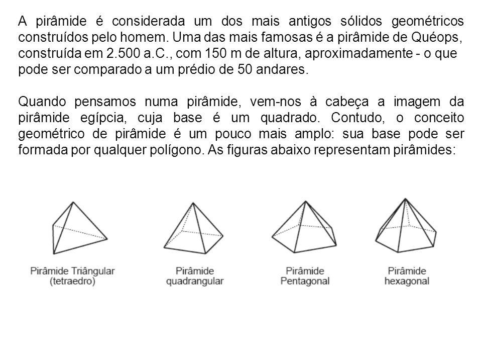 A pirâmide é considerada um dos mais antigos sólidos geométricos construídos pelo homem. Uma das mais famosas é a pirâmide de Quéops,
