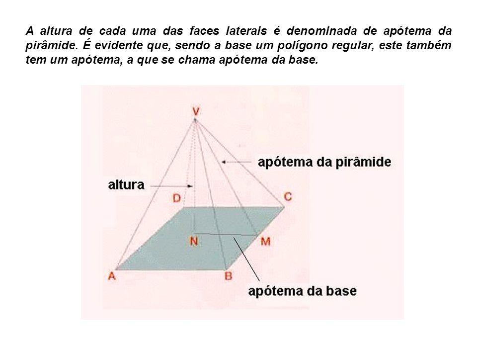 A altura de cada uma das faces laterais é denominada de apótema da pirâmide.