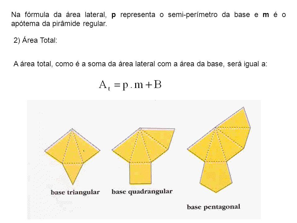 Na fórmula da área lateral, p representa o semi-perímetro da base e m é o apótema da pirâmide regular.