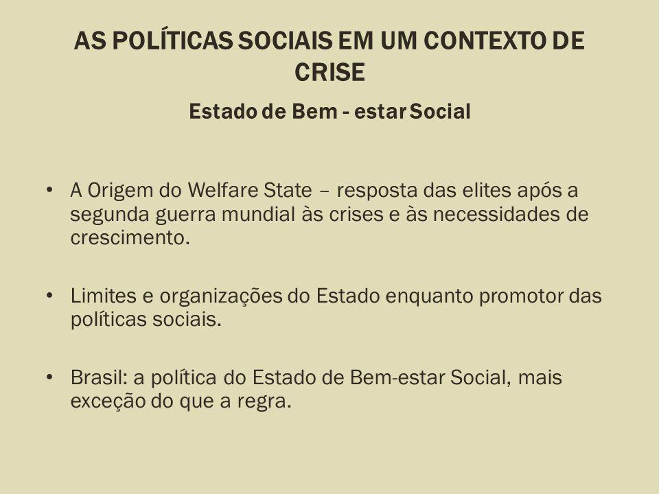 AS POLÍTICAS SOCIAIS EM UM CONTEXTO DE CRISE Estado de Bem - estar Social