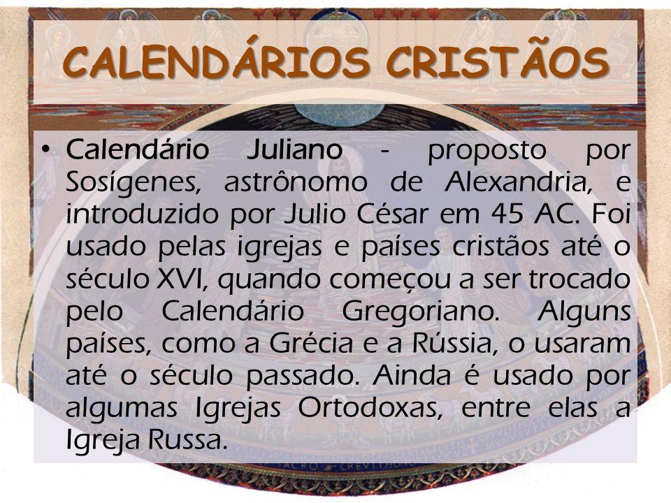 CALENDÁRIOS CRISTÃOS