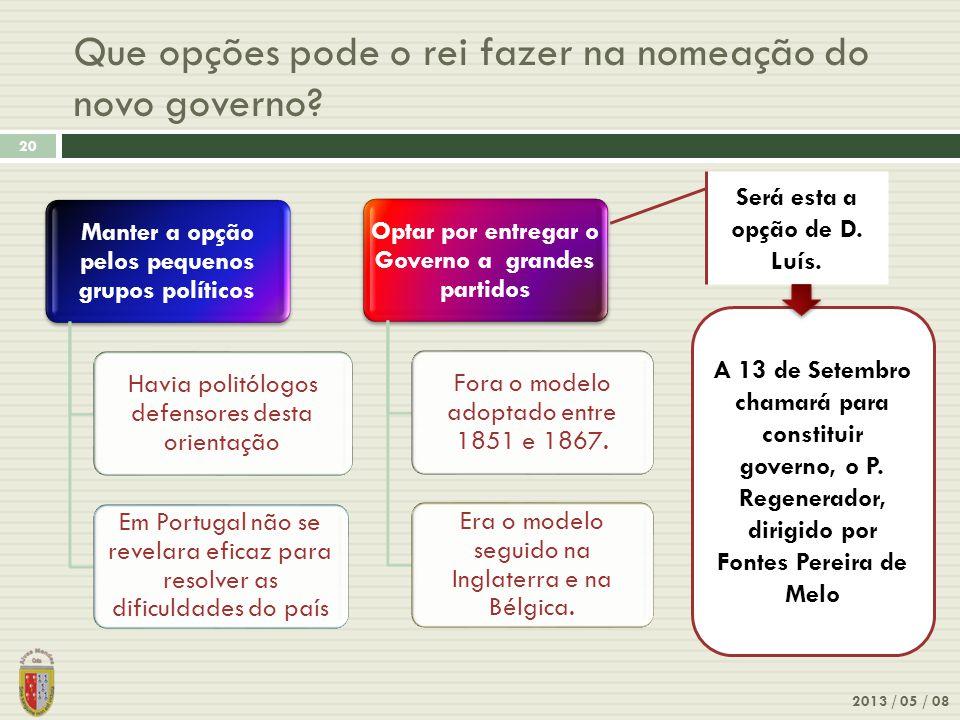 Que opções pode o rei fazer na nomeação do novo governo