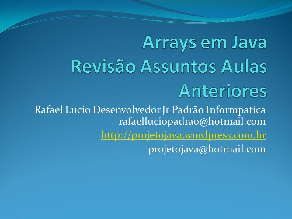 Arrays em Java Revisão Assuntos Aulas Anteriores