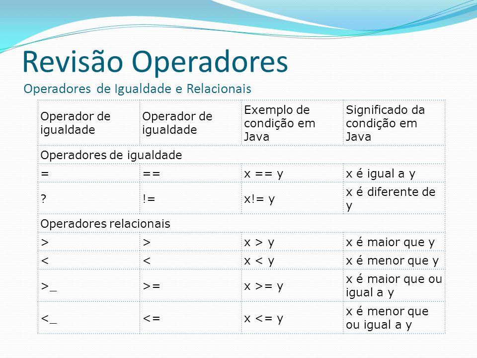 Revisão Operadores Operadores de Igualdade e Relacionais