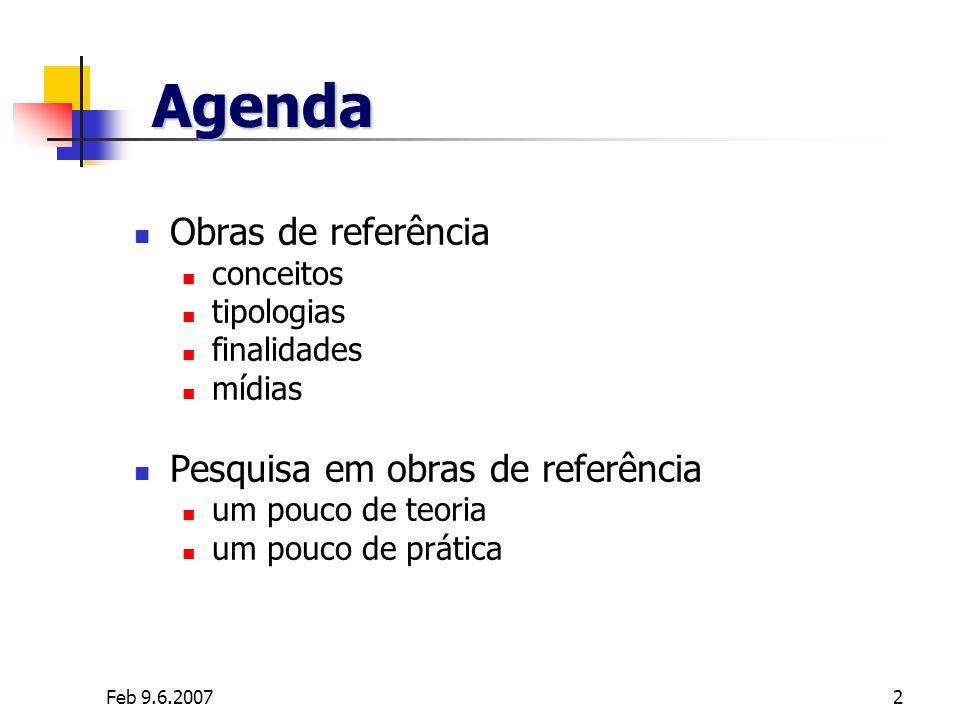 Agenda Obras de referência Pesquisa em obras de referência conceitos