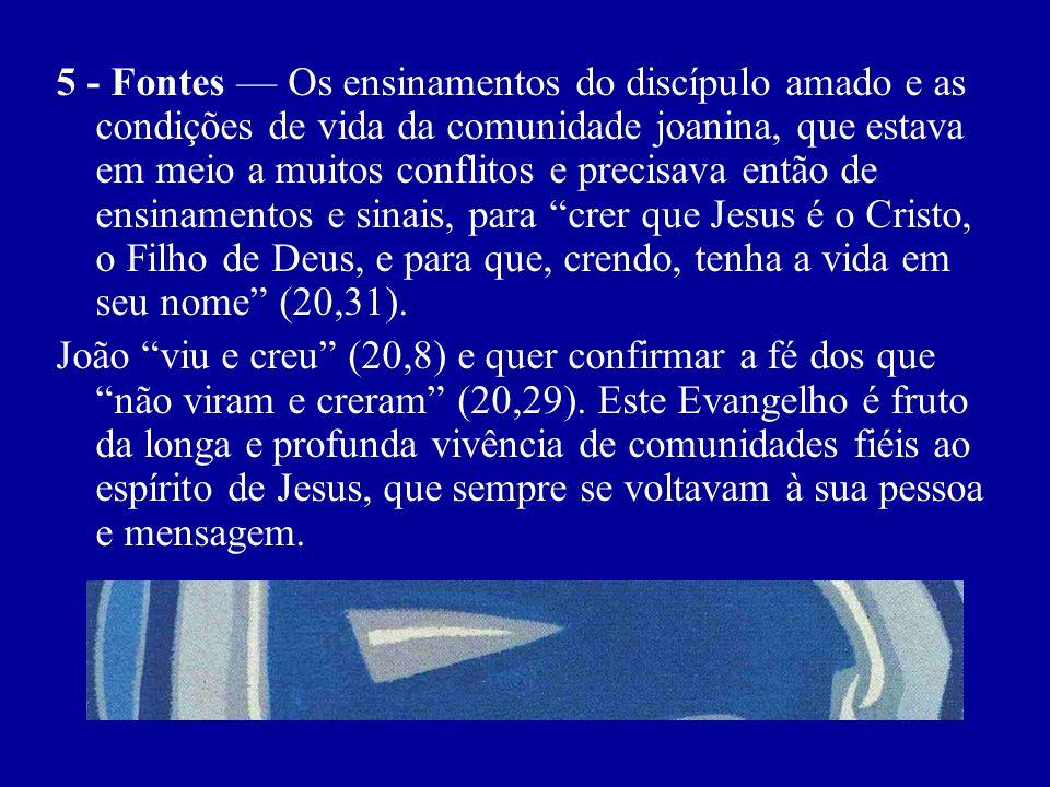 5 - Fontes — Os ensinamentos do discípulo amado e as condições de vida da comunidade joanina, que estava em meio a muitos conflitos e precisava então de ensinamentos e sinais, para crer que Jesus é o Cristo, o Filho de Deus, e para que, crendo, tenha a vida em seu nome (20,31).