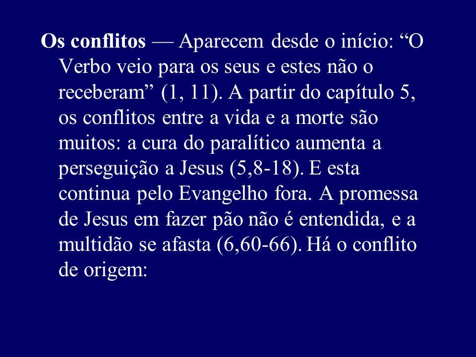 Os conflitos — Aparecem desde o início: O Verbo veio para os seus e estes não o receberam (1, 11).