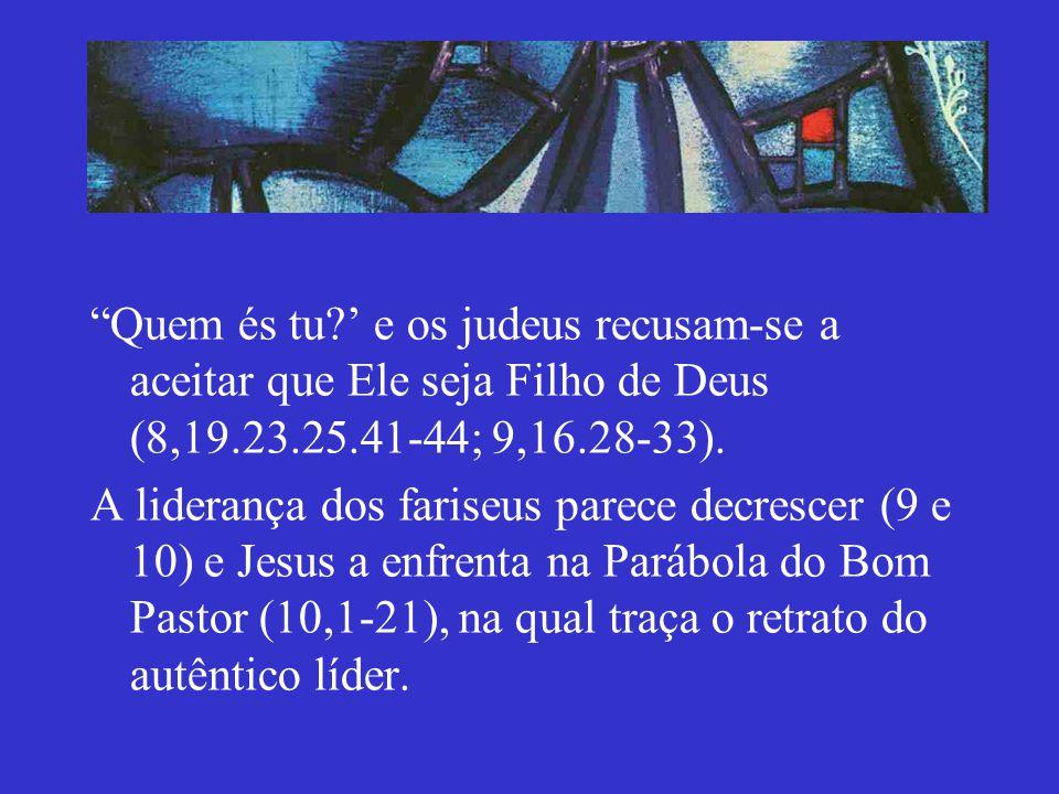 Quem és tu ' e os judeus recusam-se a aceitar que Ele seja Filho de Deus (8,19.23.25.41-44; 9,16.28-33).