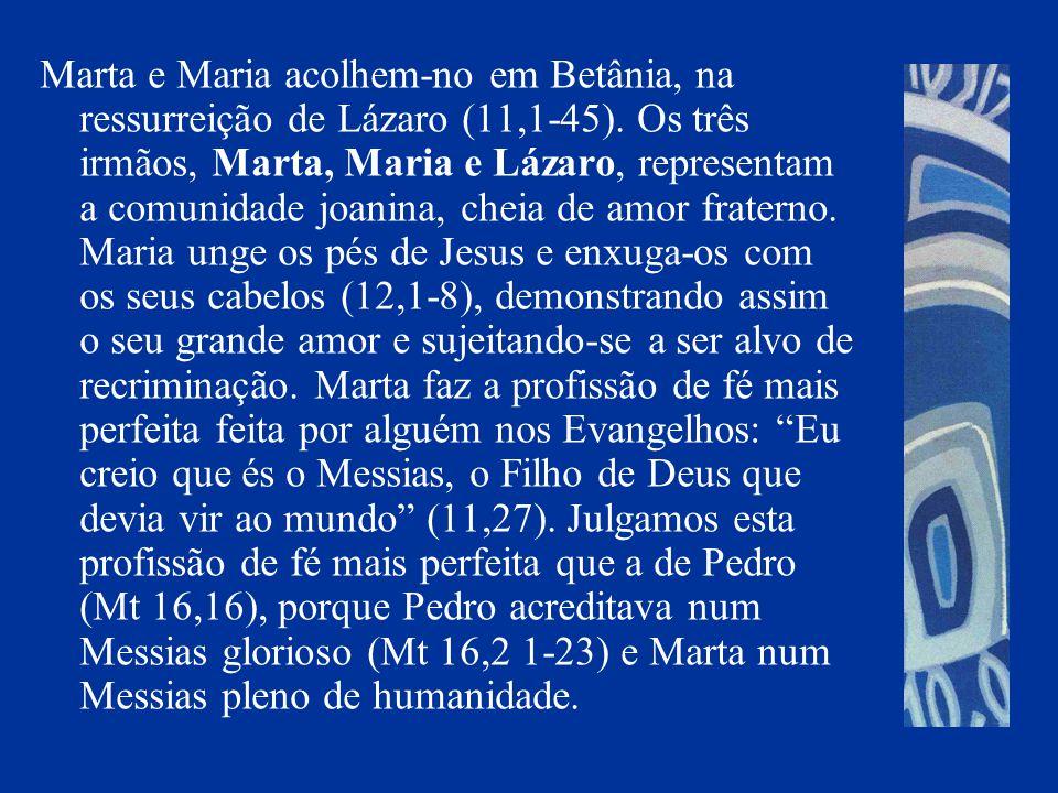 Marta e Maria acolhem-no em Betânia, na ressurreição de Lázaro (11,1-45).