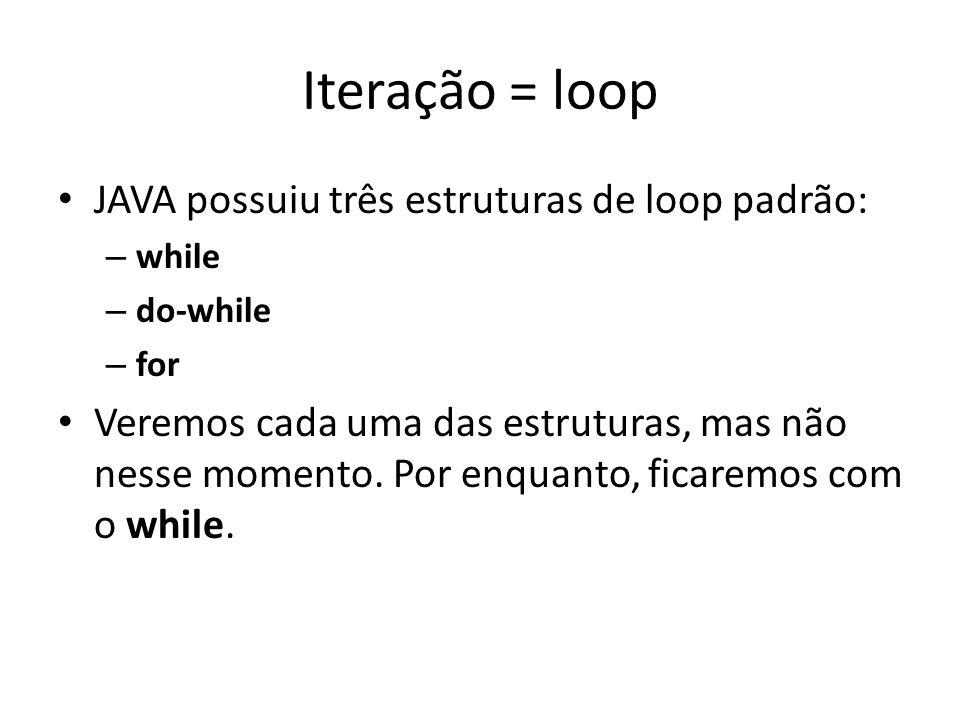 Iteração = loop JAVA possuiu três estruturas de loop padrão: