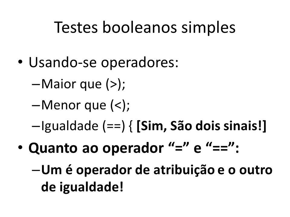 Testes booleanos simples