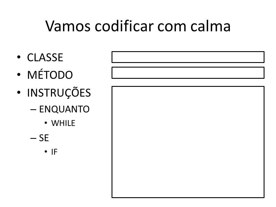 Vamos codificar com calma