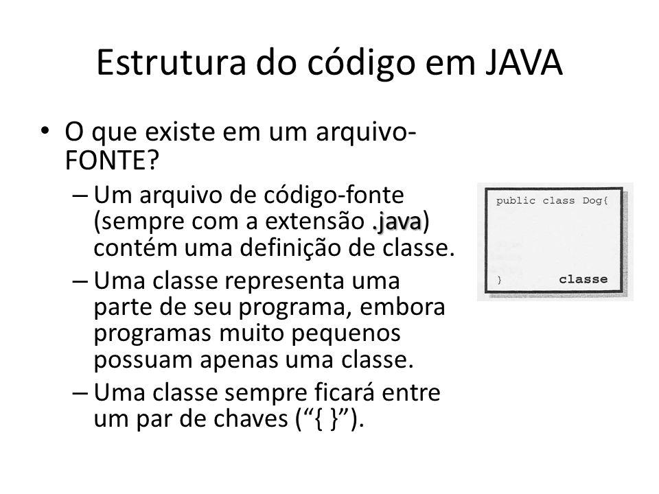 Estrutura do código em JAVA