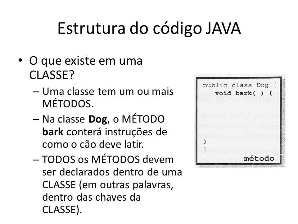 Estrutura do código JAVA