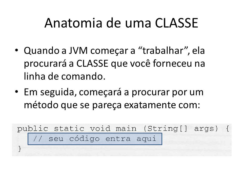 Anatomia de uma CLASSE Quando a JVM começar a trabalhar , ela procurará a CLASSE que você forneceu na linha de comando.