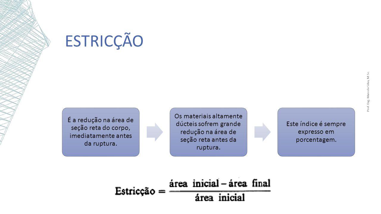 Estricção Prof. Eng. Marcelo Silva, M. Sc. É a redução na área de seção reta do corpo, imediatamente antes da ruptura.