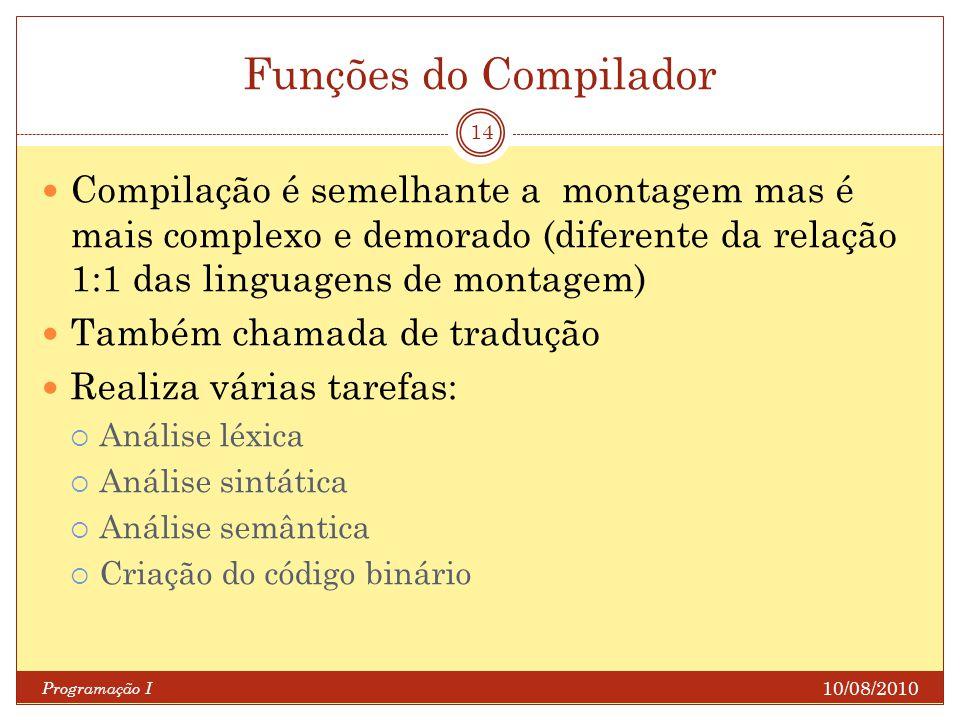 Funções do Compilador Compilação é semelhante a montagem mas é mais complexo e demorado (diferente da relação 1:1 das linguagens de montagem)