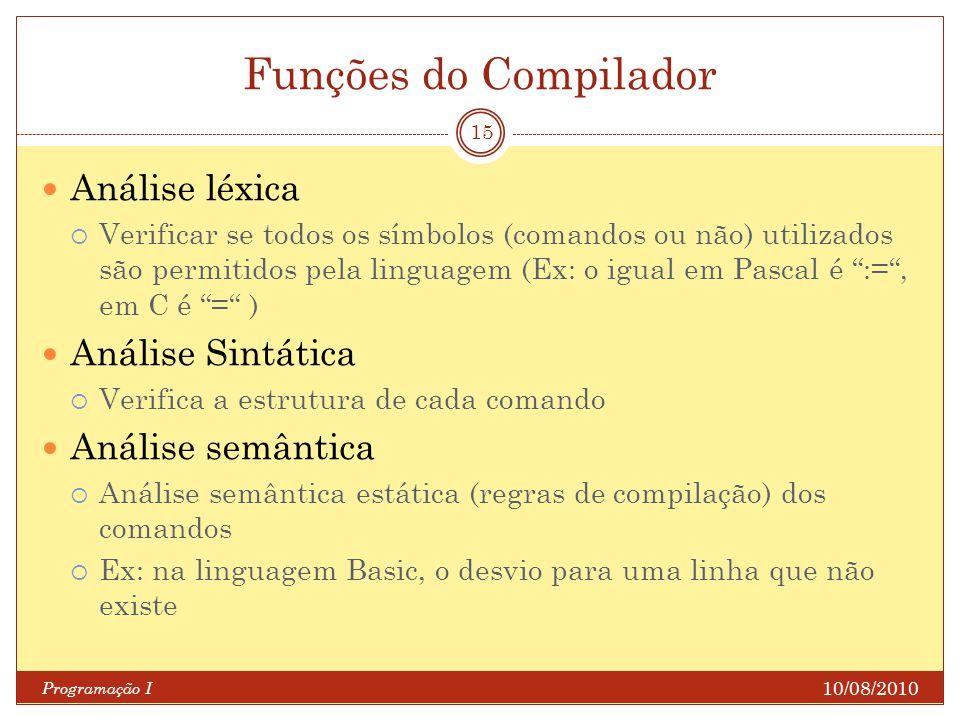 Funções do Compilador Análise léxica Análise Sintática