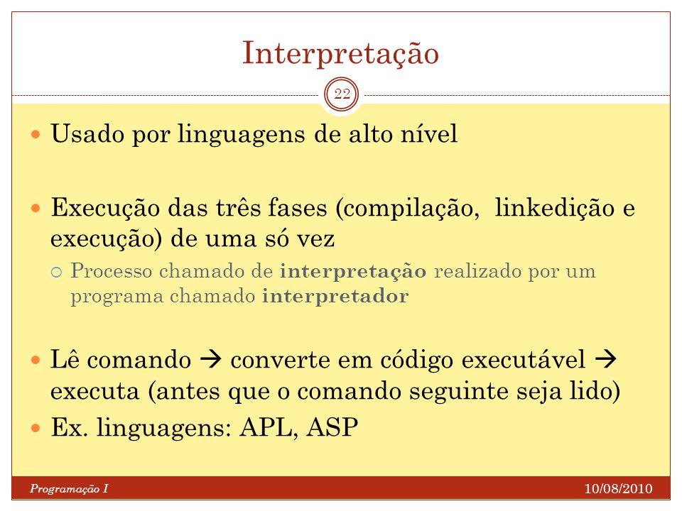 Interpretação Usado por linguagens de alto nível