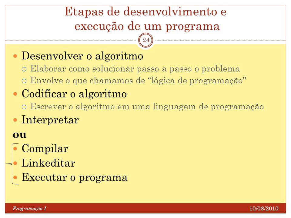 Etapas de desenvolvimento e execução de um programa