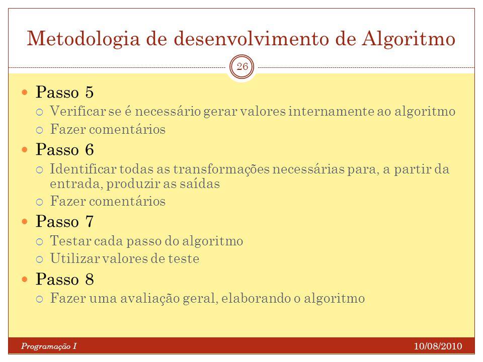 Metodologia de desenvolvimento de Algoritmo