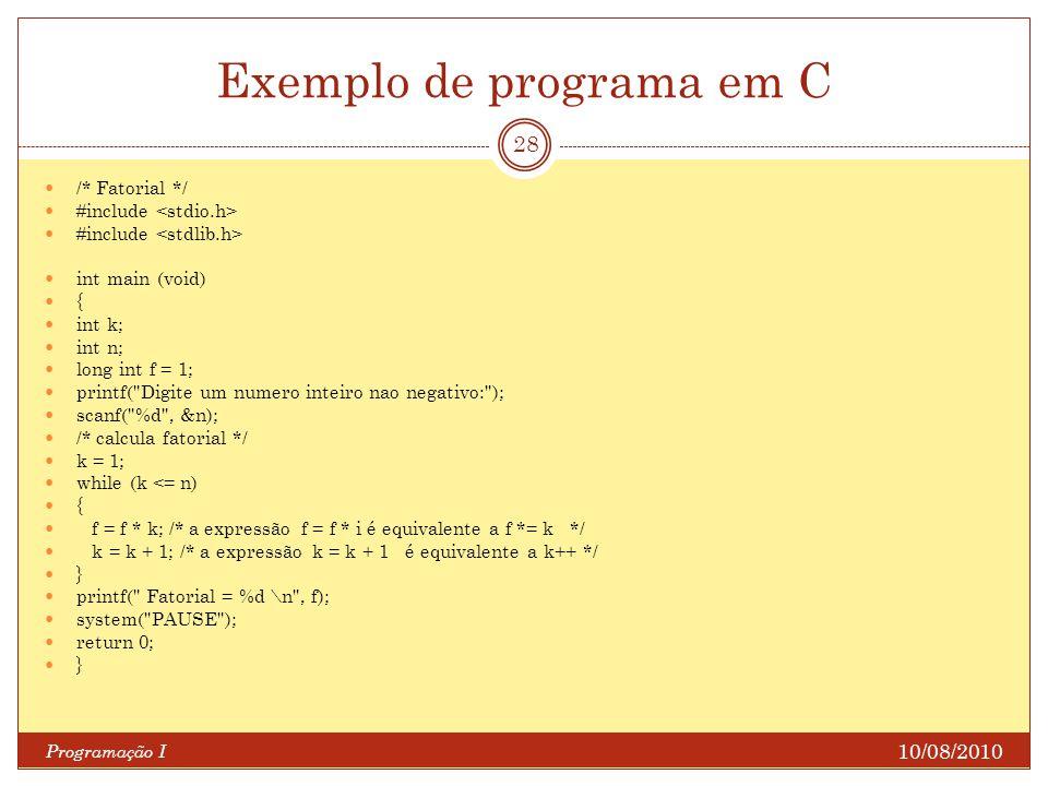 Exemplo de programa em C