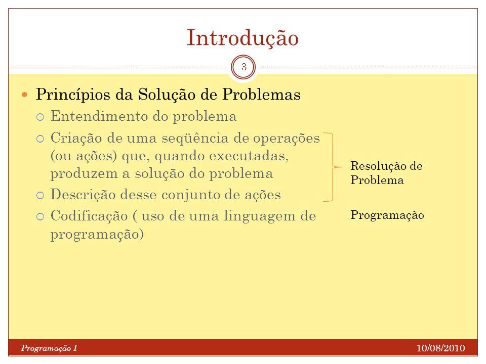 Introdução Princípios da Solução de Problemas Entendimento do problema