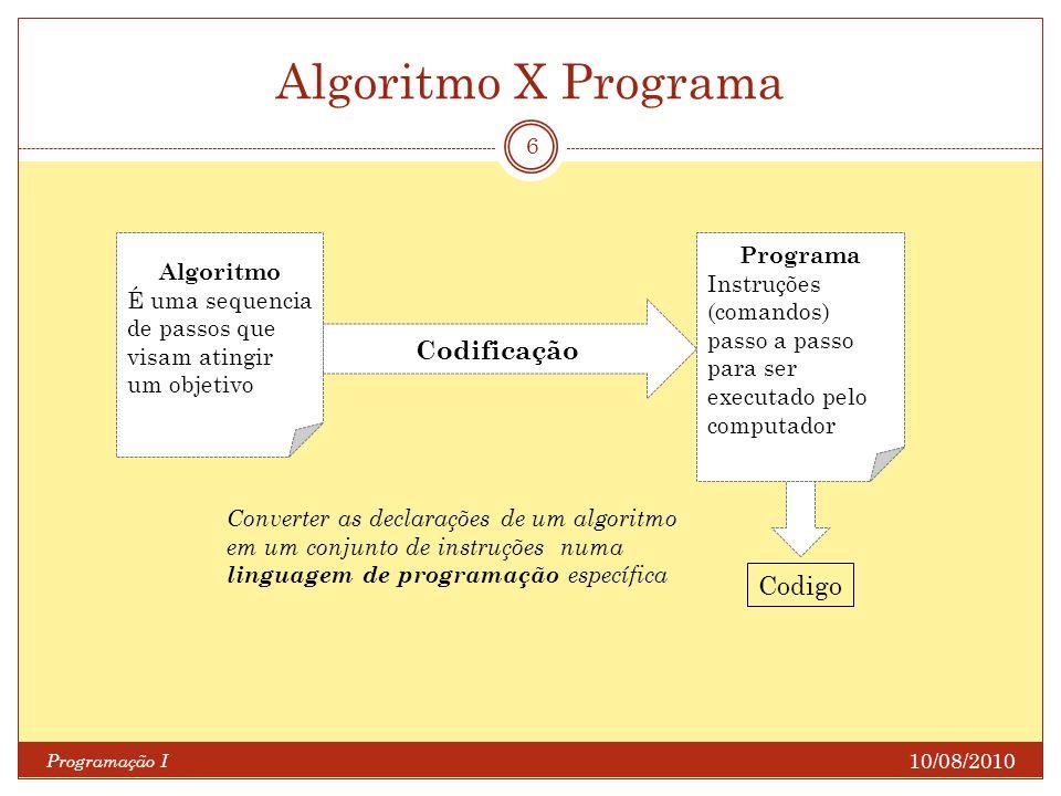 Algoritmo X Programa Codificação Codigo Programa Algoritmo