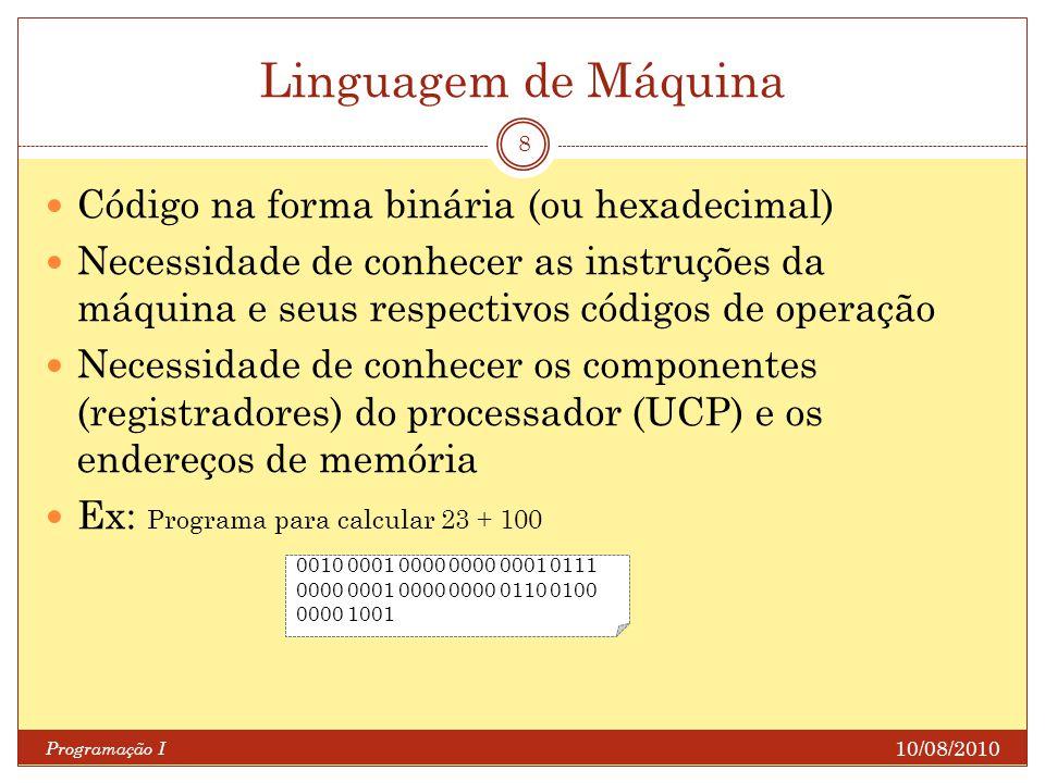 Linguagem de Máquina Código na forma binária (ou hexadecimal)