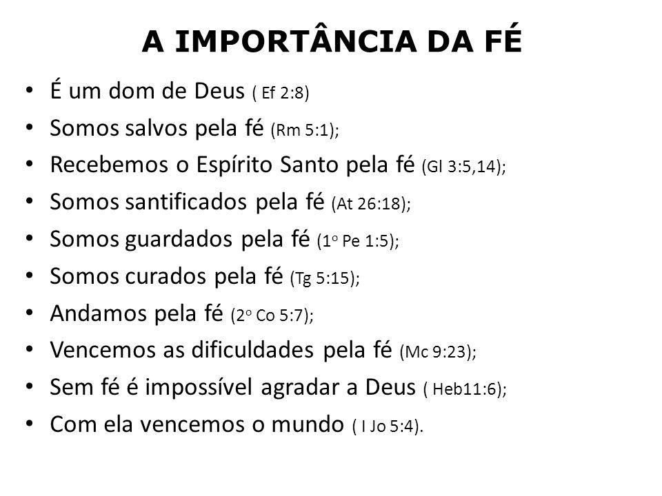 A IMPORTÂNCIA DA FÉ É um dom de Deus ( Ef 2:8)