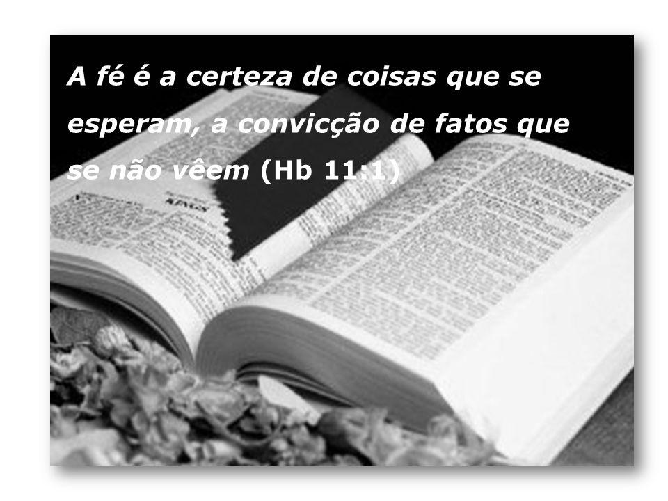 A fé é a certeza de coisas que se esperam, a convicção de fatos que se não vêem (Hb 11:1)