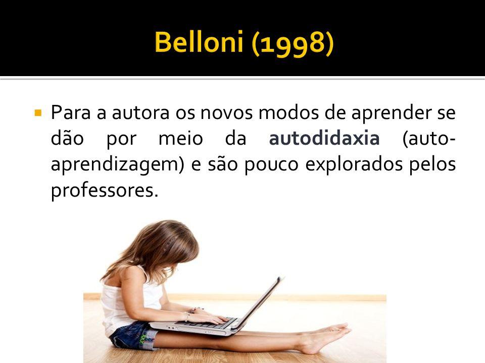 Belloni (1998) Para a autora os novos modos de aprender se dão por meio da autodidaxia (auto-aprendizagem) e são pouco explorados pelos professores.