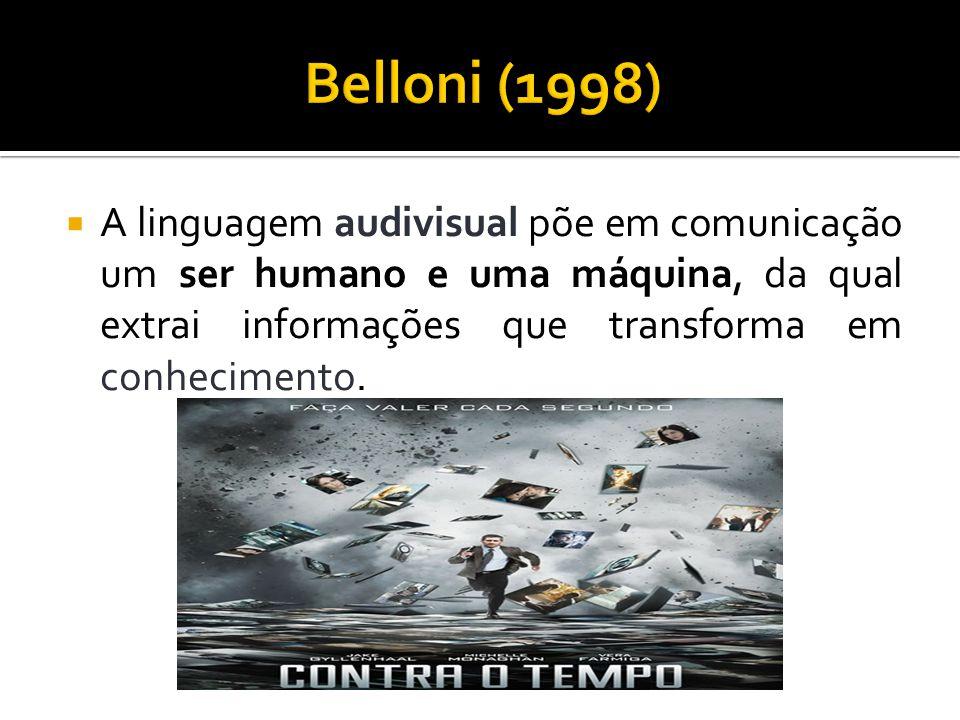 Belloni (1998) A linguagem audivisual põe em comunicação um ser humano e uma máquina, da qual extrai informações que transforma em conhecimento.