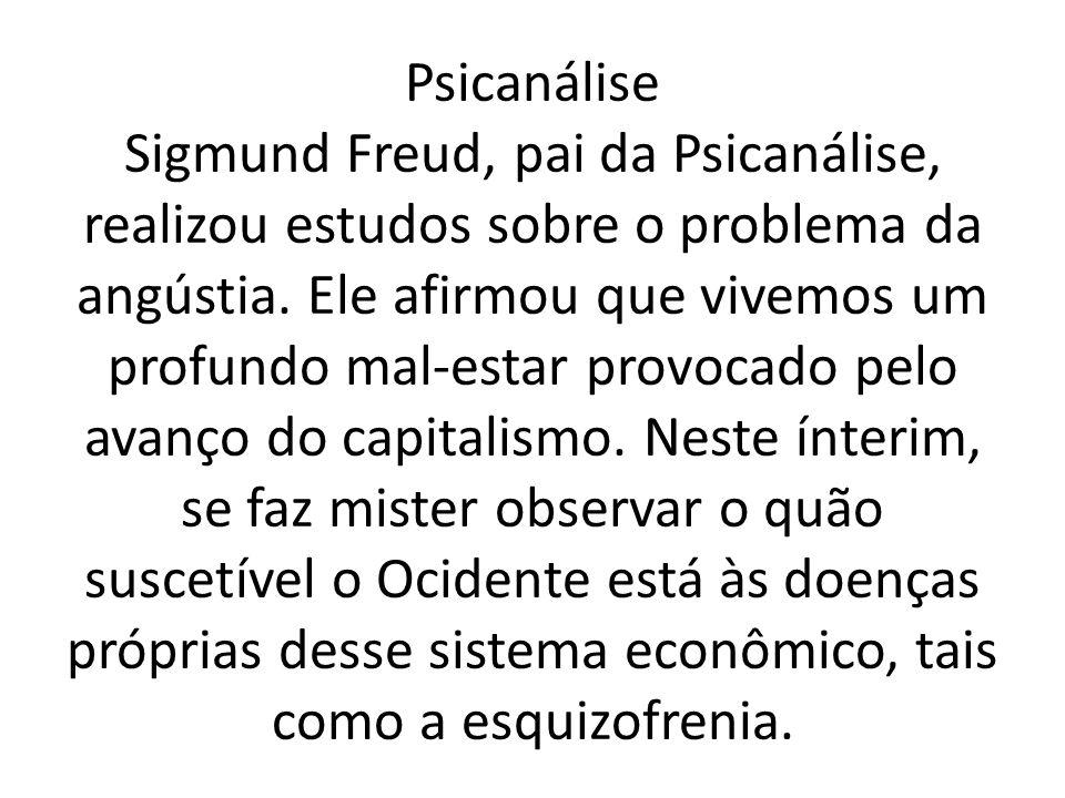 Psicanálise Sigmund Freud, pai da Psicanálise, realizou estudos sobre o problema da angústia.