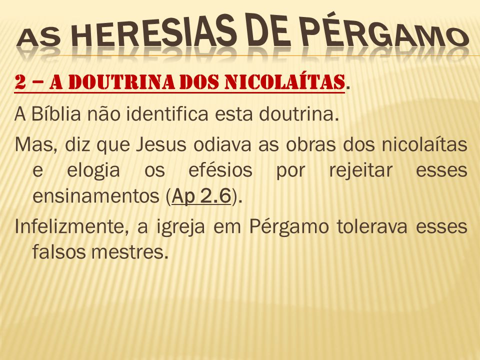 AS HERESIAS DE PÉRGAMO