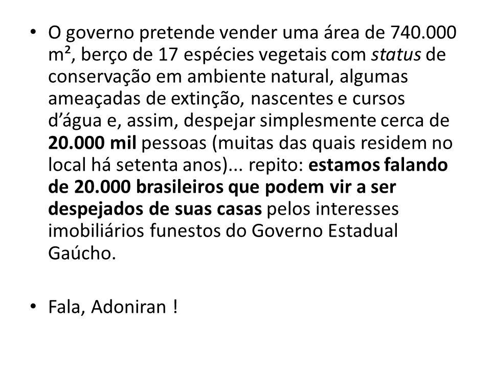 O governo pretende vender uma área de 740