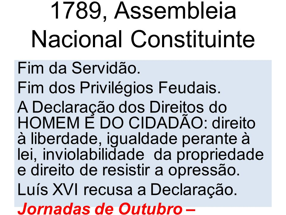 1789, Assembleia Nacional Constituinte aprova: