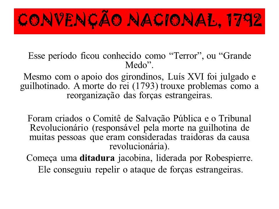 CONVENÇÃO NACIONAL, 1792 Esse período ficou conhecido como Terror , ou Grande Medo .