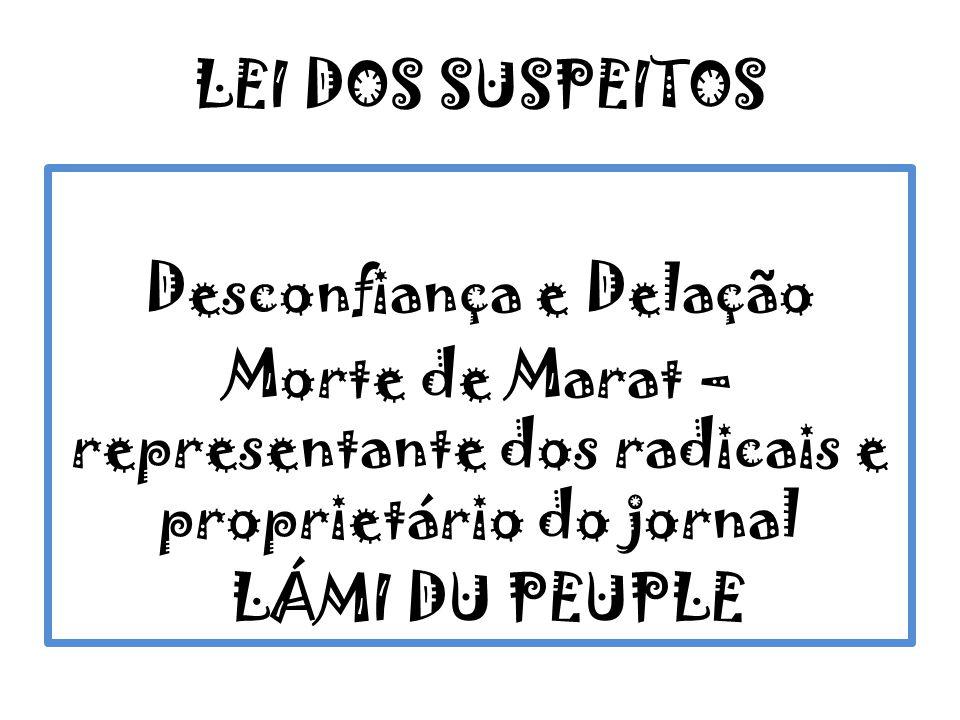 LEI DOS SUSPEITOS Desconfiança e Delação Morte de Marat – representante dos radicais e proprietário do jornal LÁMI DU PEUPLE