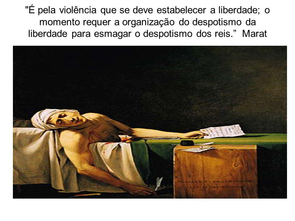 É pela violência que se deve estabelecer a liberdade; o momento requer a organização do despotismo da liberdade para esmagar o despotismo dos reis. Marat