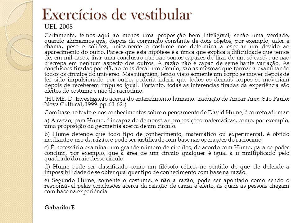 Exercícios de vestibular