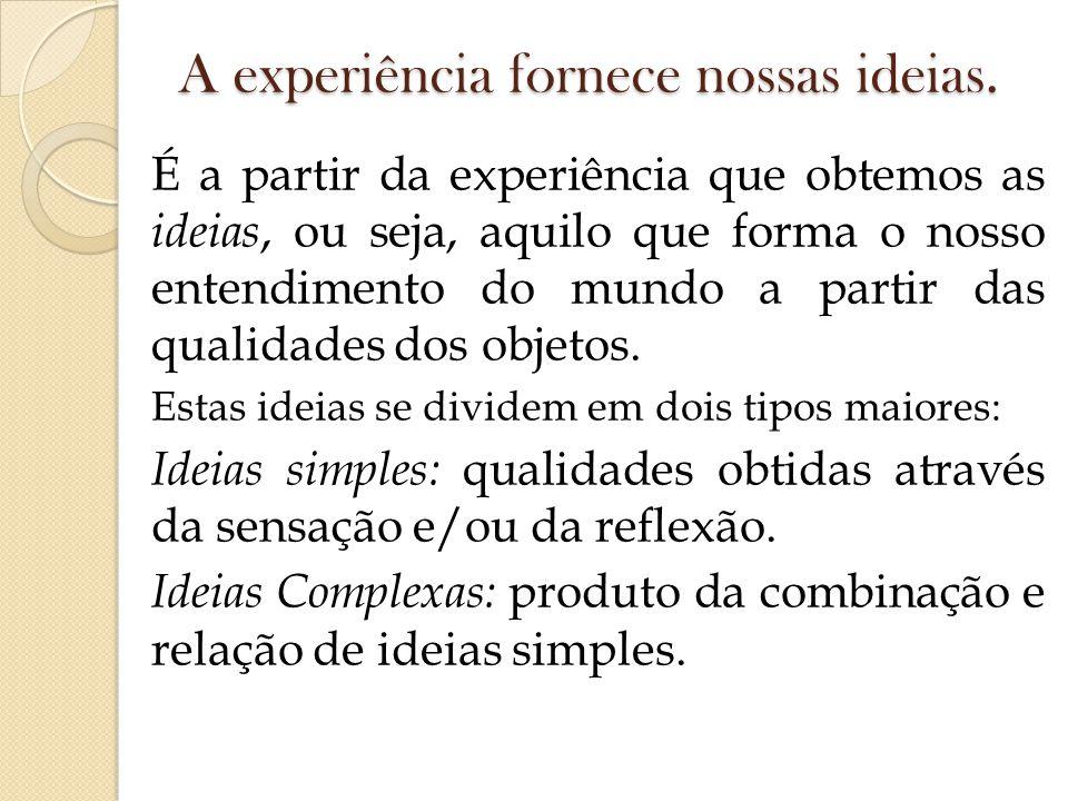 A experiência fornece nossas ideias.