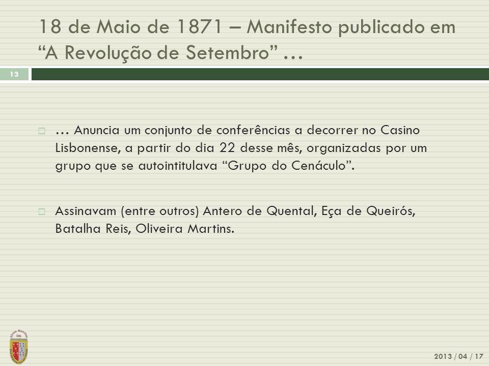 18 de Maio de 1871 – Manifesto publicado em A Revolução de Setembro …